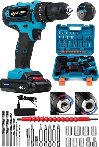 Sturdy Power Tools 46 Volt 5.0 Amper Express Seri Çift Akülü 27 Parça Uç Setli Şarjlı Vidalama Matkap
