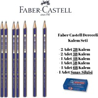 Faber-Castell Dereceli Kalem Seti 7 Adet Kalem ve Silgi Faber Castell Dereceli Kalem Seti 2b 3b 4b 5b 6b Kalem