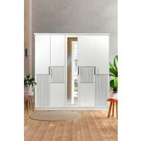 Albero Mobilya Albero Kapris 5 Kapılı Beyaz Aynalı Gardırop - Dolap