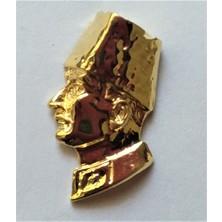 Ata Tanıtım 24 Ayar Gerçek Altın Kaplama Kalpaklı Kısa Büst Rozet 14AR