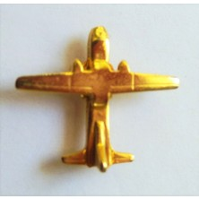 Ata Tanıtım 24 Ayar Gerçek Altın Kaplama Uçak Rozet Nuar