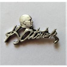 Ata Tanıtım 925AYAR Gerçek Gümüş Kaplama Ata Profilli Imza Rozet 18GR