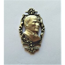 Ata Tanıtım 925 Ayar Gerçek Gümüş Kaplama, Çerçeveli Atatürk Rozet 38GB