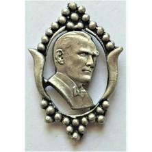 Ata Tanıtım 925 Ayar Gerçek Gümüş Kaplama, Çerçeveli Atatürk Rozet 39GB