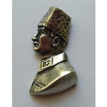 Ata Tanıtım 925 Ayar Gerçek Gümüş Kaplama Kalpaklı Ata Büst Rozet 11GR