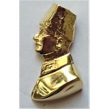 Ata Tanıtım 24 Ayar Gerçek Altın Kaplama Kalpaklı Ata Büst Rozet 11AR