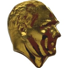 Ata Tanıtım 24 Ayar Gerçek Altın Kaplama, Profil Atatürk Rozeti. 19*16 mm Büyük Boy.