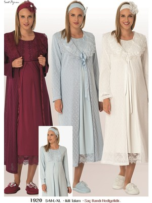 Mecit Pijama By Mecit Triko Sabahlıklı Gecelik Takım 1920