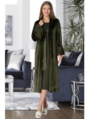 Mecit Pijama Mecit 5358 Yeşil Kadife Sabahlıklı Gecelik Takımı