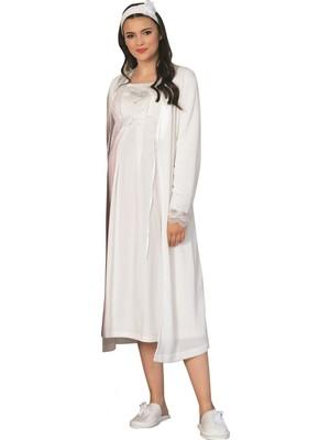 Mecit Pijama By Mecit Simli Triko Sabahlıklı Lohusa Gecelik Takım