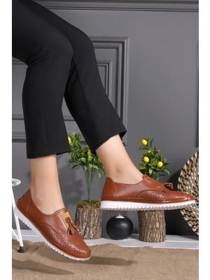 Potincim Cns 1005 Püskül Kadın Günlük Babet Ayakkabı Taba