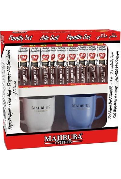 Mahbuba 3ü1 Arada Bol Sütlü Bol Köpüklü Kahve Aile Seti 40x18gr +2 Renkli Kupa Hediyeli