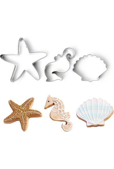 Nar Kalıp Deniz Canlıları Kurabiye Kalıbı 3'lü