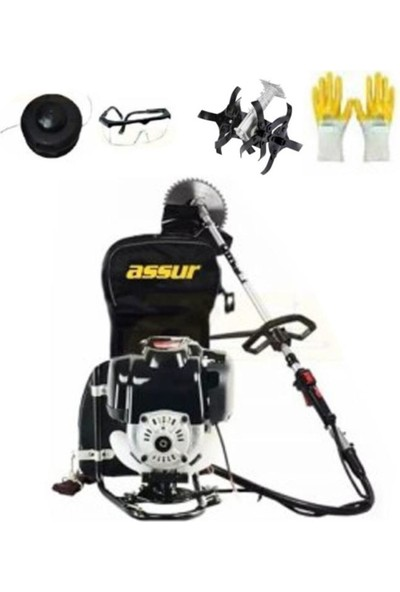 Assur Pro Cq-Stp 8400 5.9 Hp Metal Şanzıman Benzinli Ot Çalı Çim Biçme Tırpanı + Çapa Aparatı