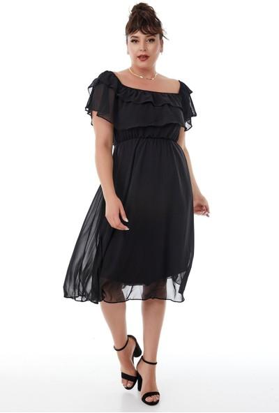 Siyezen Büyük Beden Siyah Madonna Yaka Şifon Elbise