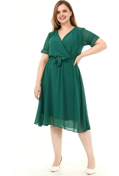 Siyezen Büyük Beden Yeşil Kruvaze Yaka Kısa Kollu Şifon Elbise