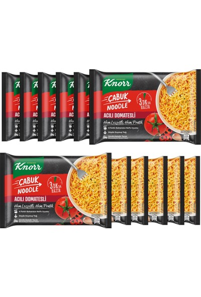 Knorr Acılı Domatesli Çabuk Noodle 67 gr X12 Adet