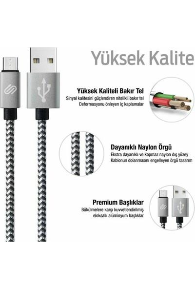 Qwerts Micro USB Örgülü Hızlı Şarj ve Data Kablosu 1 mt ( Siyah - Beyaz )