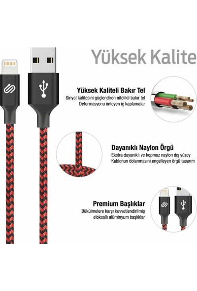 Qwerts Direct Hızlı USB Lightning Kablo – 3'lü Şarj Kablosu Seti - iPhone iPad Uyumlu Kırmızı Siyah