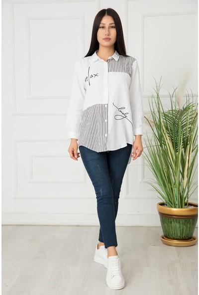 Kalopya Bayan Çizgili Nakışlı Pamuklu Gömlek 440452
