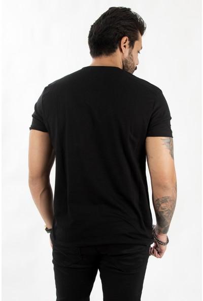 Deepsea Siyah Flourescent Kurt Baskılı Erkek Tişört 2102099