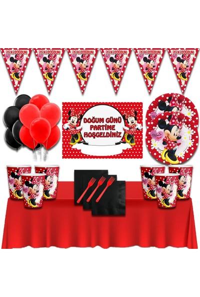 Minnie Mouse Afişli Kırmızı 32 Kişilik Doğum Günü Parti Süsleri Malzemeleri Seti