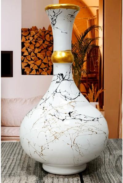 Otogar Çini Seramik 3'lü Mermer Desenli Konsol Seti Beyaz Renk-Gold Yaldızlı