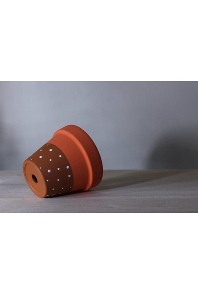 Rober Tasarım Robertasarım Tabaklı 12X12 cm Toprak Saksı Terleyen Çömlek Sukulent Kaktüs Saksısı Bks