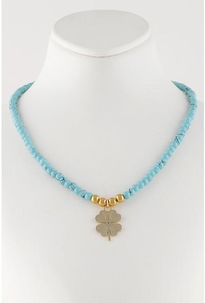 Sortie Accessories Yonca Yaprağı Figürlü Mavi Boncuklu Kolye
