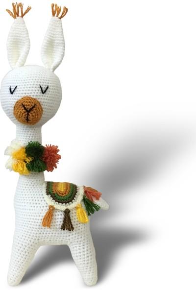 Binbir Trend El Örgüsü Amigurumi Oyuncak Beyaz Lama 30 cm