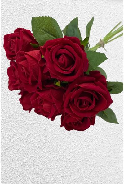 The Bouqet 10'lu Gerçek Görünümlü Yapay Kadife Gül Demeti Lüx 50 cm Kırmızı