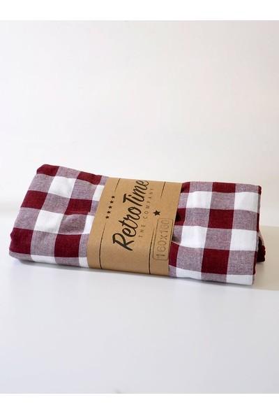 The Company Kareli Piknik Masa ve Yer Örtüsü Retro Bordo