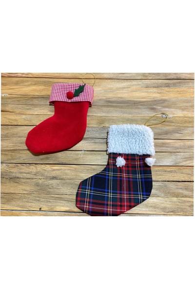 Beysüs Yılbaşı Çorabı Çam Ağacı ve Şömine Çorabı 2'li Lacivert Kırmızı Kokinalı