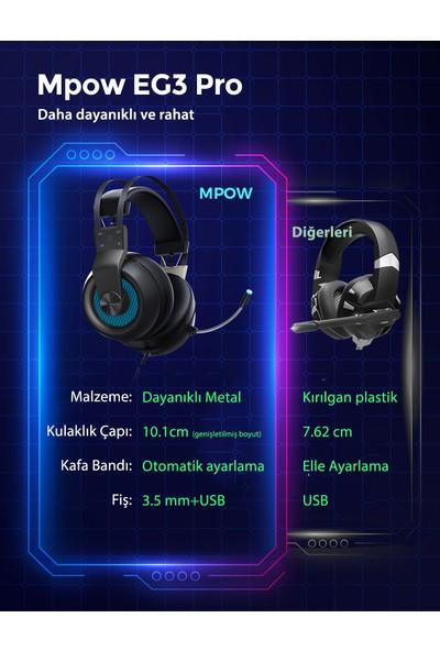 Mpow EG3 Pro 7.1 Surround Gürültü Engelleyici Mikrofonlu Surround Oyuncu Kulaklığı PS4 PS5 Xbox One PC