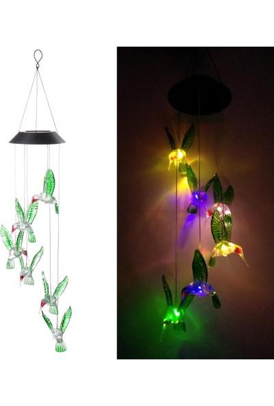 Xyanling Güneş Enerjisi Rüzgar Çanı LED Işık Sinek Kuşu Şekli Su Geçirmez Asılı Lambalar Açık Bahçe Dekorasyonu
