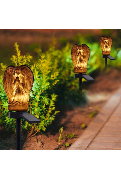 Xyanling Güneş Açık Melek Şekli Lambalar Bahçe Dekorasyon Gece Lambası Yumuşak Yol Esneme Işık Melek Heykeli Ev Bahçe Partisi Dekoru