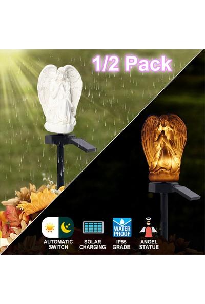 Xyanling Güneş Enerjisi Melek Çim Lambaları Melek LED Güneş Işıkları Peyzaj Lambaları Geçit Çim Yolu Bahçe Için Su Geçirmez Dış Mekan Işıkları