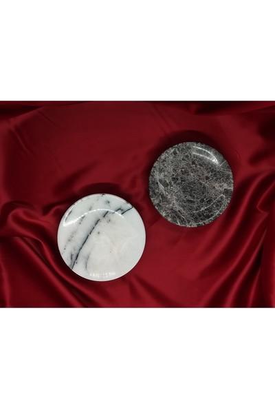 Pergamon Dark Emperador ve Leylak Mermeri Iki Adet Katı Sabunluk 2'li Set