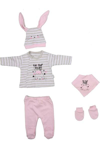Sebi 1033 Pembe Tavşanlı Kız Bebek 5'li Hastane Çıkışı