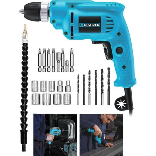 Graizer 700 Watt 10 mm Bakir Sargili Darbesiz Vidalama Matkap + 24 Parça Set Hediyeli Mavi