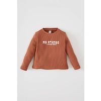 DeFacto Erkek Bebek Yazı Baskılı Kollu Baskılı Pamuklu Tişört V5979A221AU