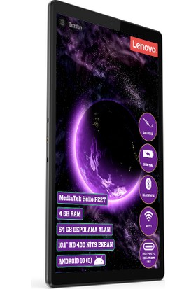 "Lenovo Tab M10 TB-X306F 4 Gb+64 GB 10.1"" IPS Tablet ZA7W0007TR Gri"