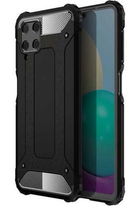 Teleplus Samsung Galaxy M32 4g Kılıf Çift Katmanlı Tank Silikon Siyah + Nano Ekran Koruyucu