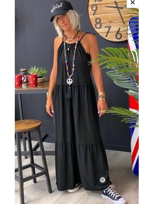 Janes Viskon Kumaş Askılı Sırt Dekolteli Dikiş Detay Maxi Boy Elbise