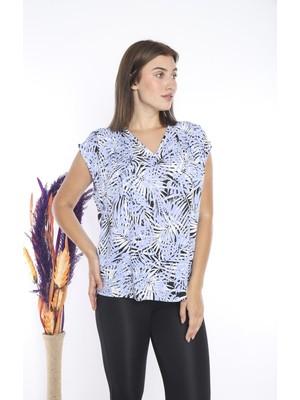 Bireysa Kadın Desenli Mavi Bluz Sıfır Kol