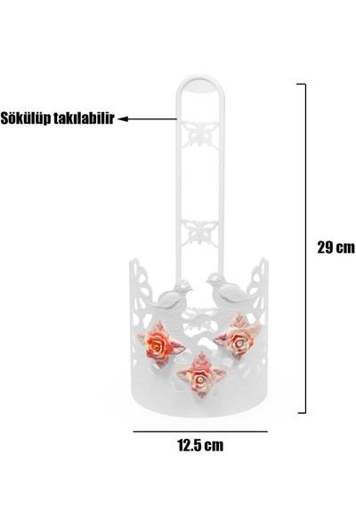 Badem10 Havlu Peçetelik Gül Desenli Plastik Beyaz Kağıt Havluluk 29 cm