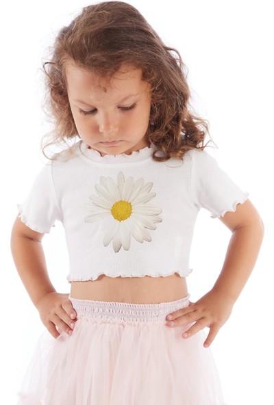 Colorinas Trim Crop Tshirt Papatya Baskılı Beyaz