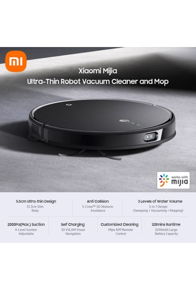 Xiaomi Yeni Xiaomi Mijia Robot Elektrikli SÜPÜRGE-2000PA 5.5cm Ultra-Ince (Yurt Dışından)