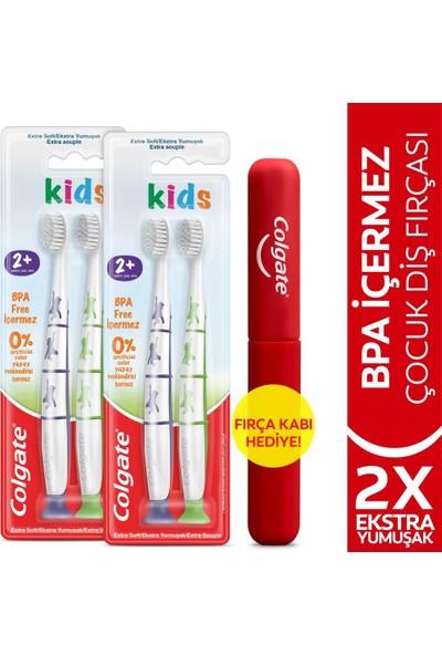 Colgate Colgate2+ Yaş Yapışkan Tabanlı Ekstra Yumuşak Bpa Içermeyen Çocuk Diş Fırçası X2 Adet + Fırça Kabı