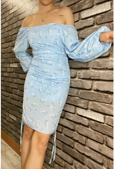 Nobasicbasic Kadın Çiçekli Büzgülü Mavi Romantik Mini Elbise